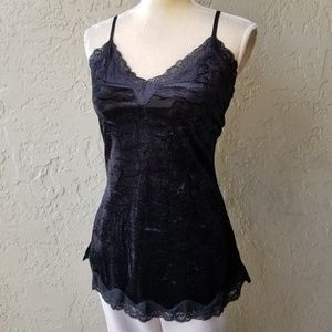 INC Crushed Velvet and Lace tunic camisole top